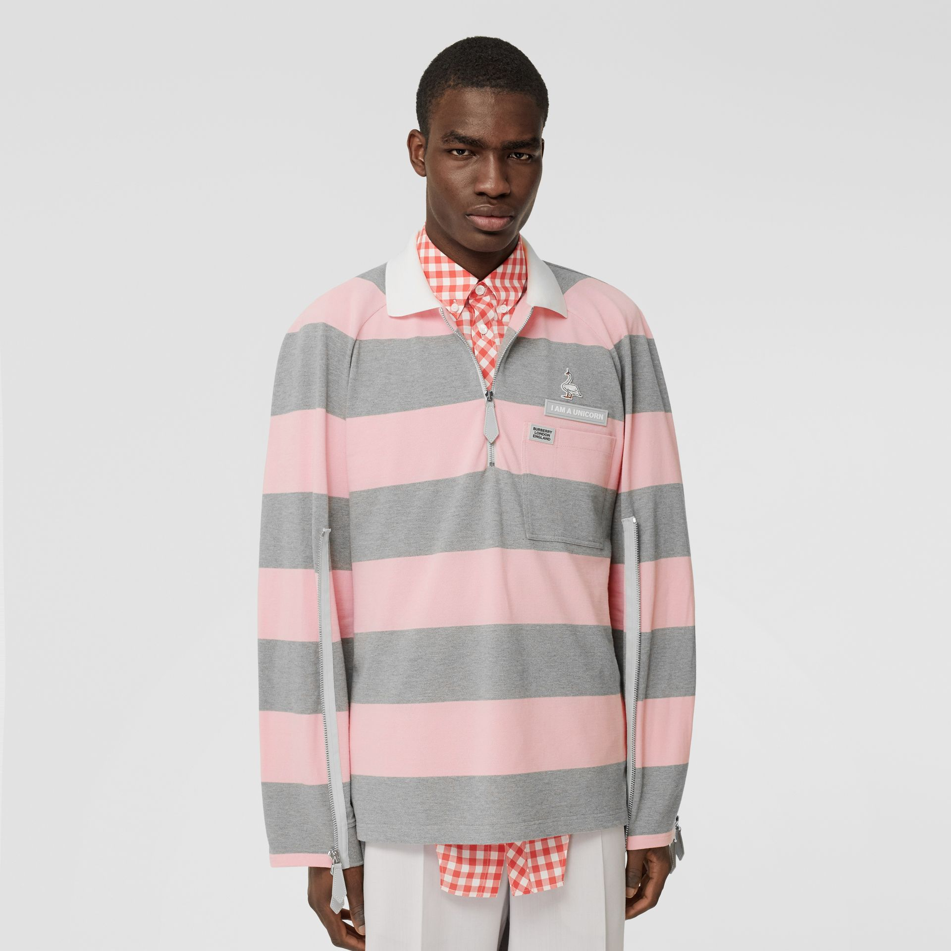 Long-sleeve Zip Detail Striped Cotton Polo Shirt in Pale Pink | Burberry - gallery image 0