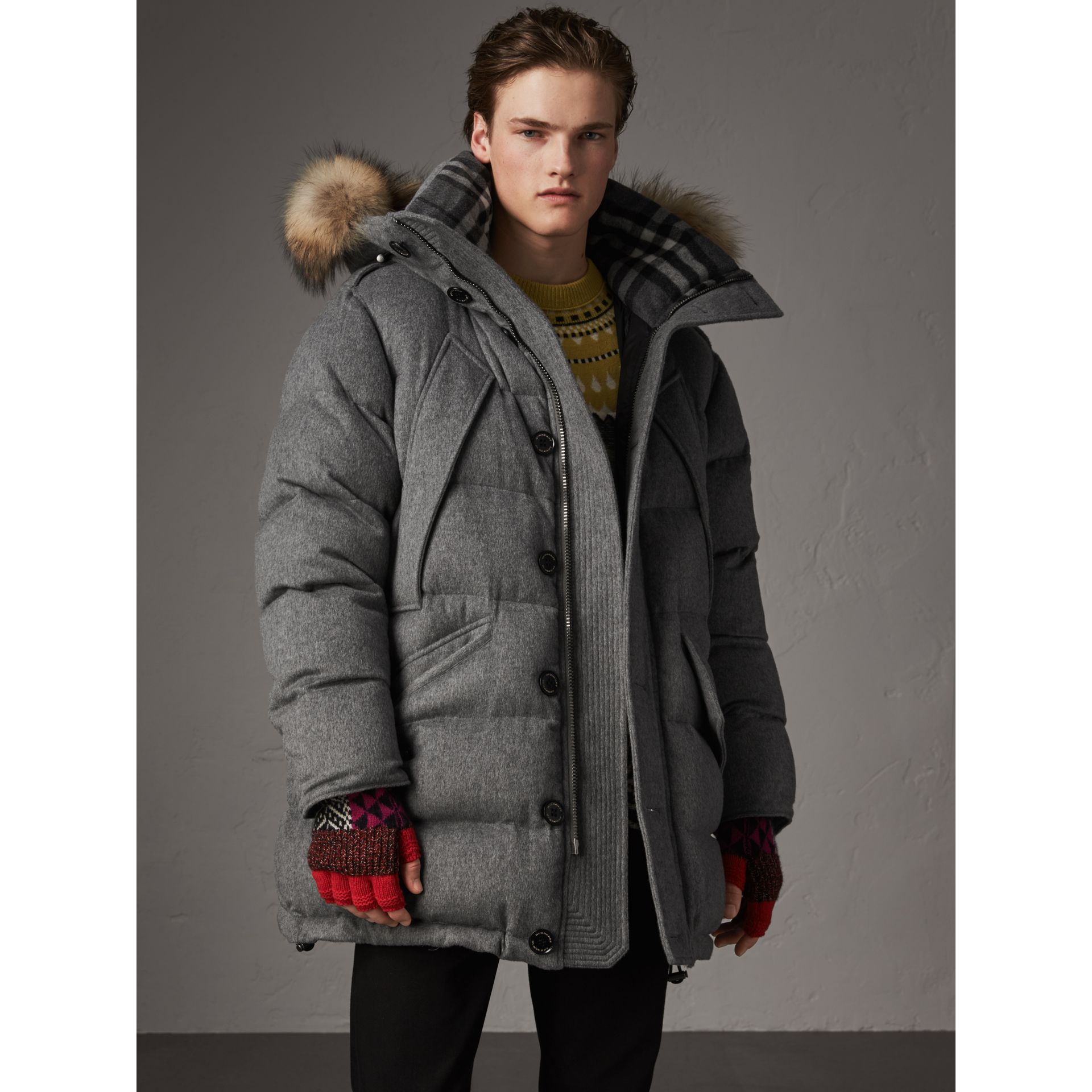 Detachable Fur Trim Cashmere Down-filled Parka in Mid Grey Melange - Men | Burberry United Kingdom - gallery image 5