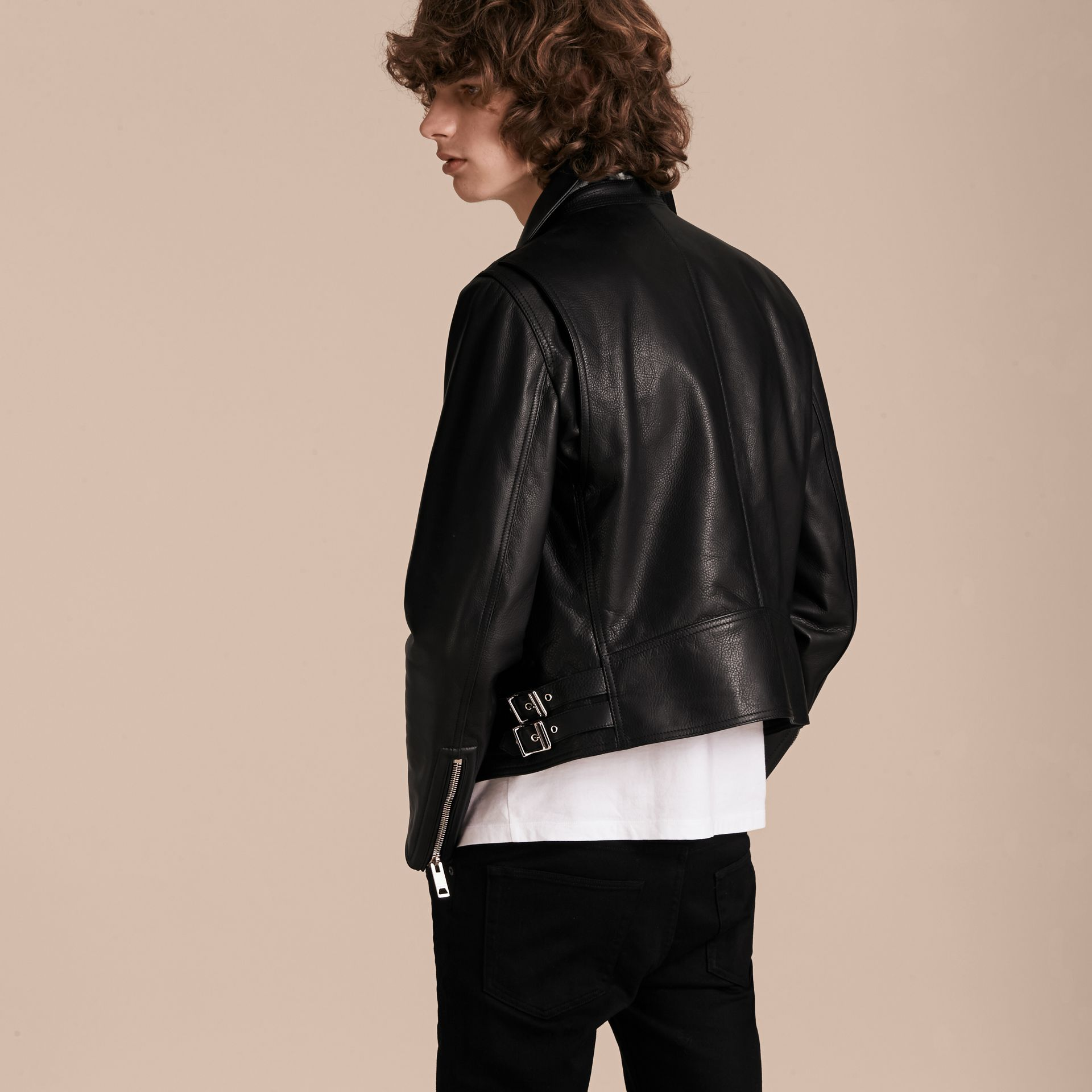 Black Clean-lined Leather Biker Jacket - gallery image 3
