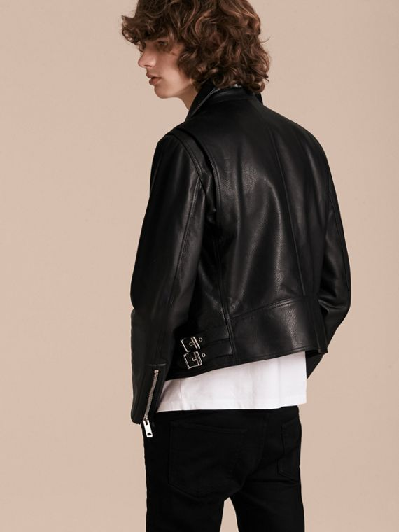 Black Clean-lined Leather Biker Jacket - cell image 2