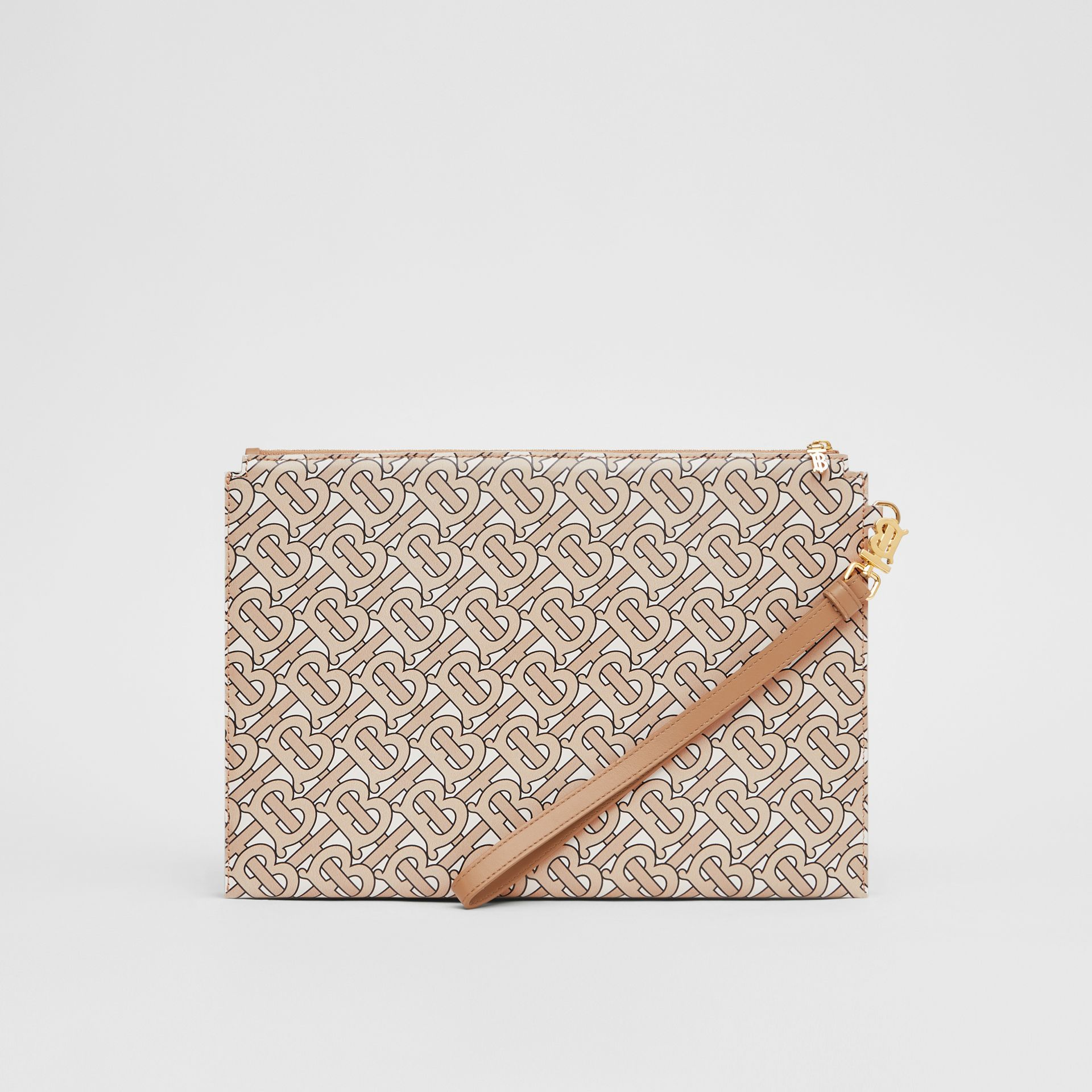 Monogram Print Leather Pouch in Beige - Women | Burberry - gallery image 6
