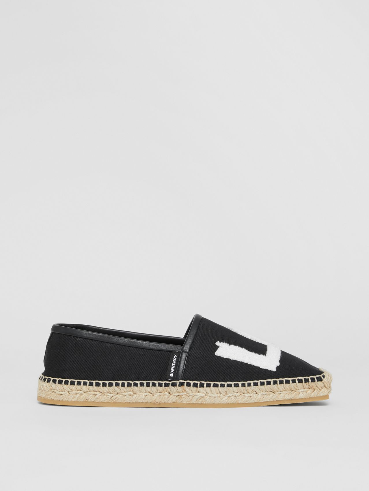 Love Motif Cotton Espadrilles in Black
