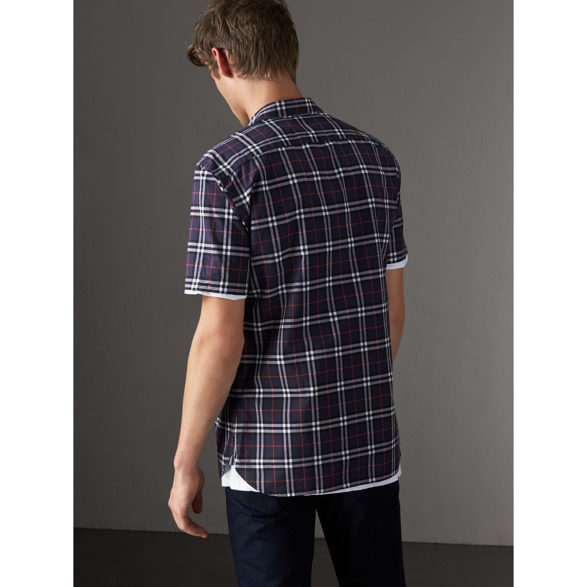 Short-sleeve Check Cotton Shirt in Navy - Men | Burberry United Kingdom - gallery image 2