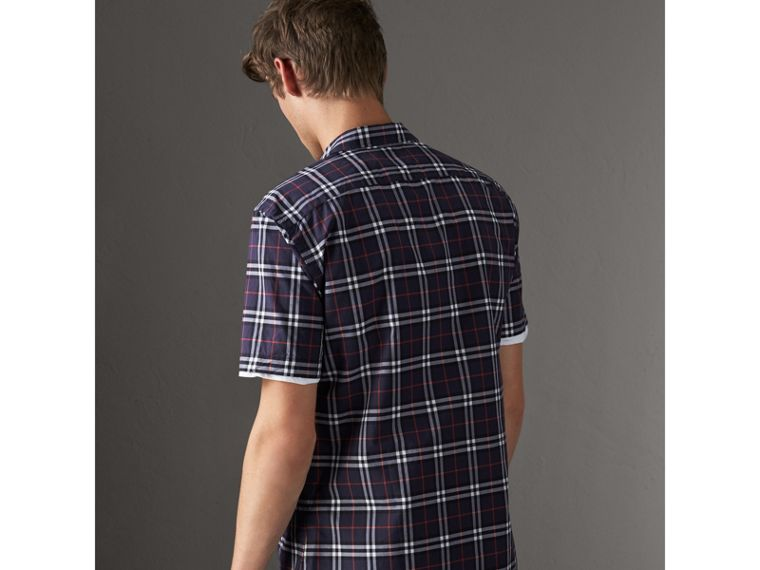 Short-sleeve Check Cotton Shirt in Navy - Men | Burberry Singapore - cell image 1