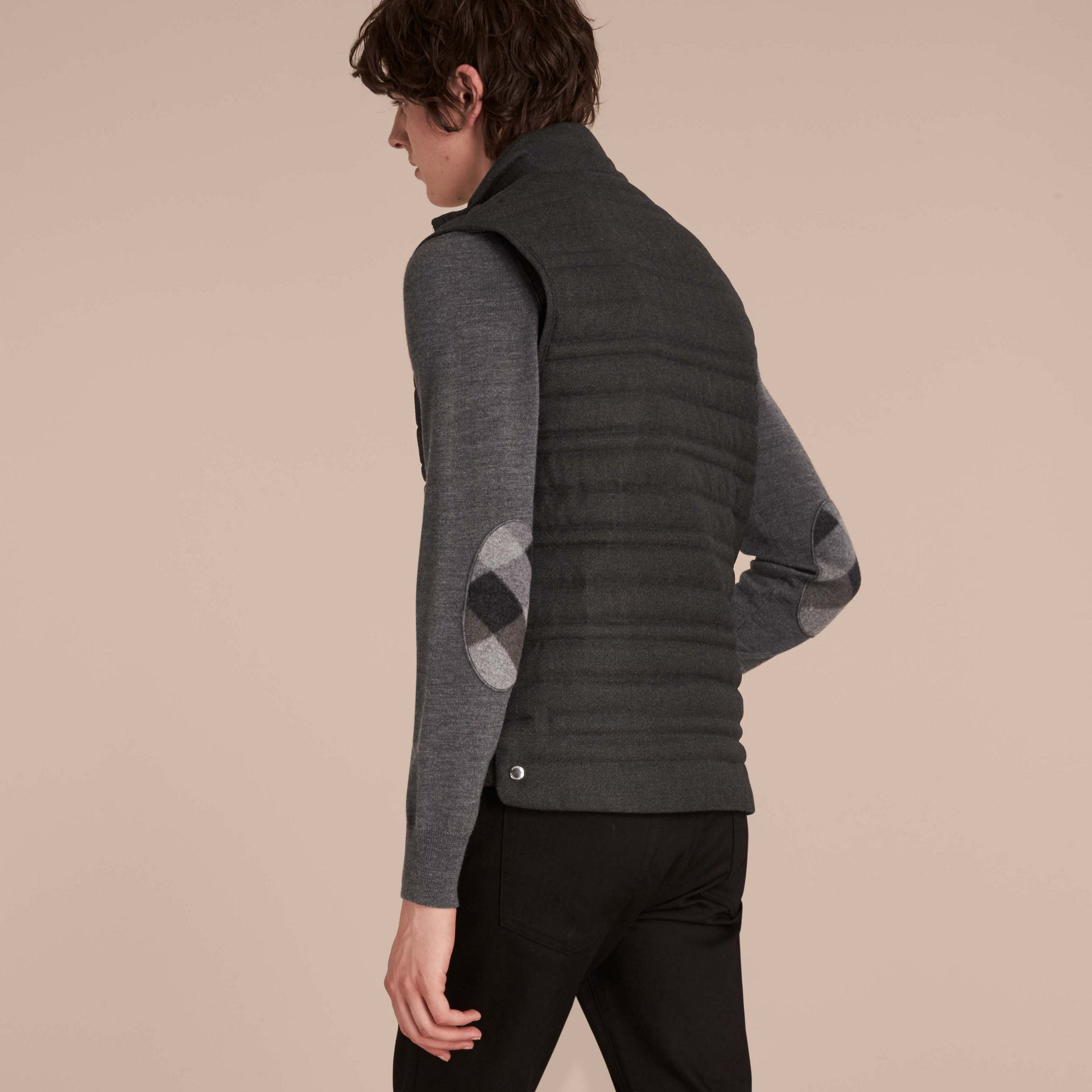 Dark grey melange Down-filled Wool Flannel Gilet - gallery image 3