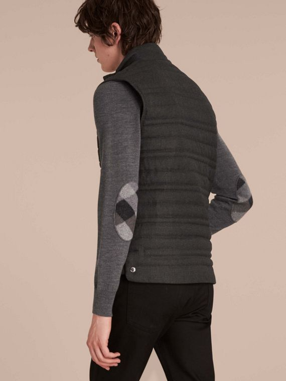 Dark grey melange Down-filled Wool Flannel Gilet - cell image 2
