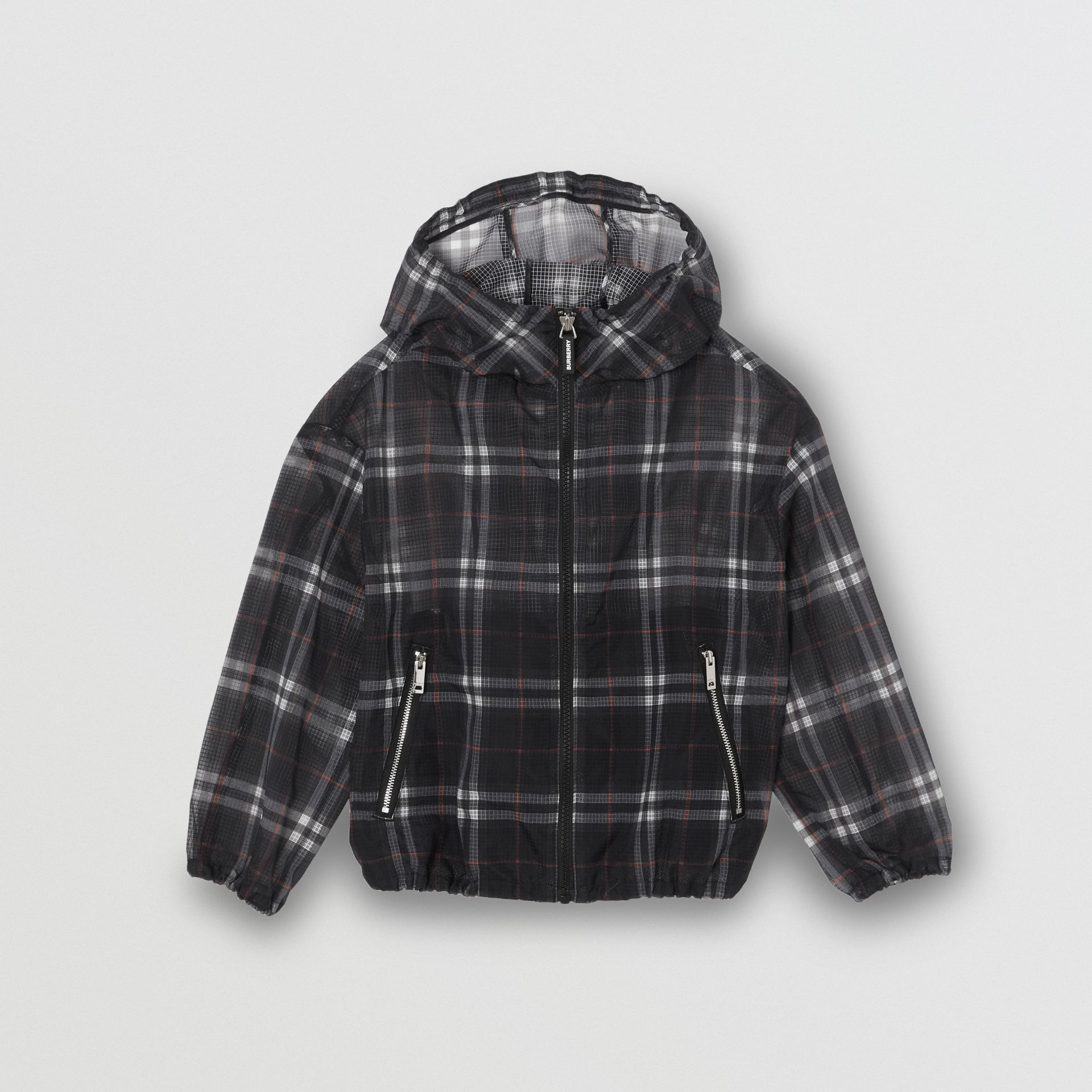 Vintage Check Nylon Hooded Jacket in Black | Burberry United Kingdom - gallery image 0