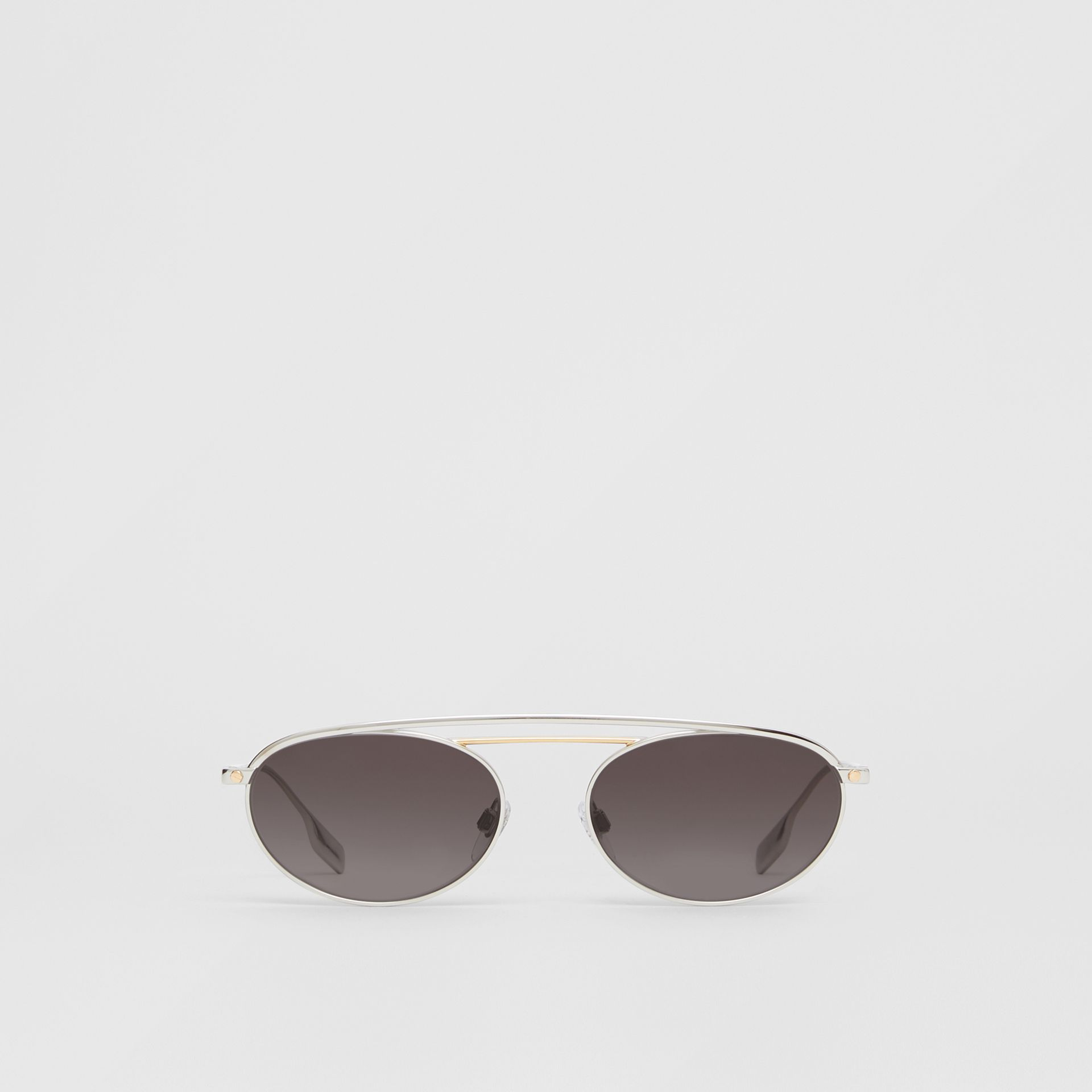 Oval Frame Sunglasses in Grey - Women | Burberry Australia - gallery image 0