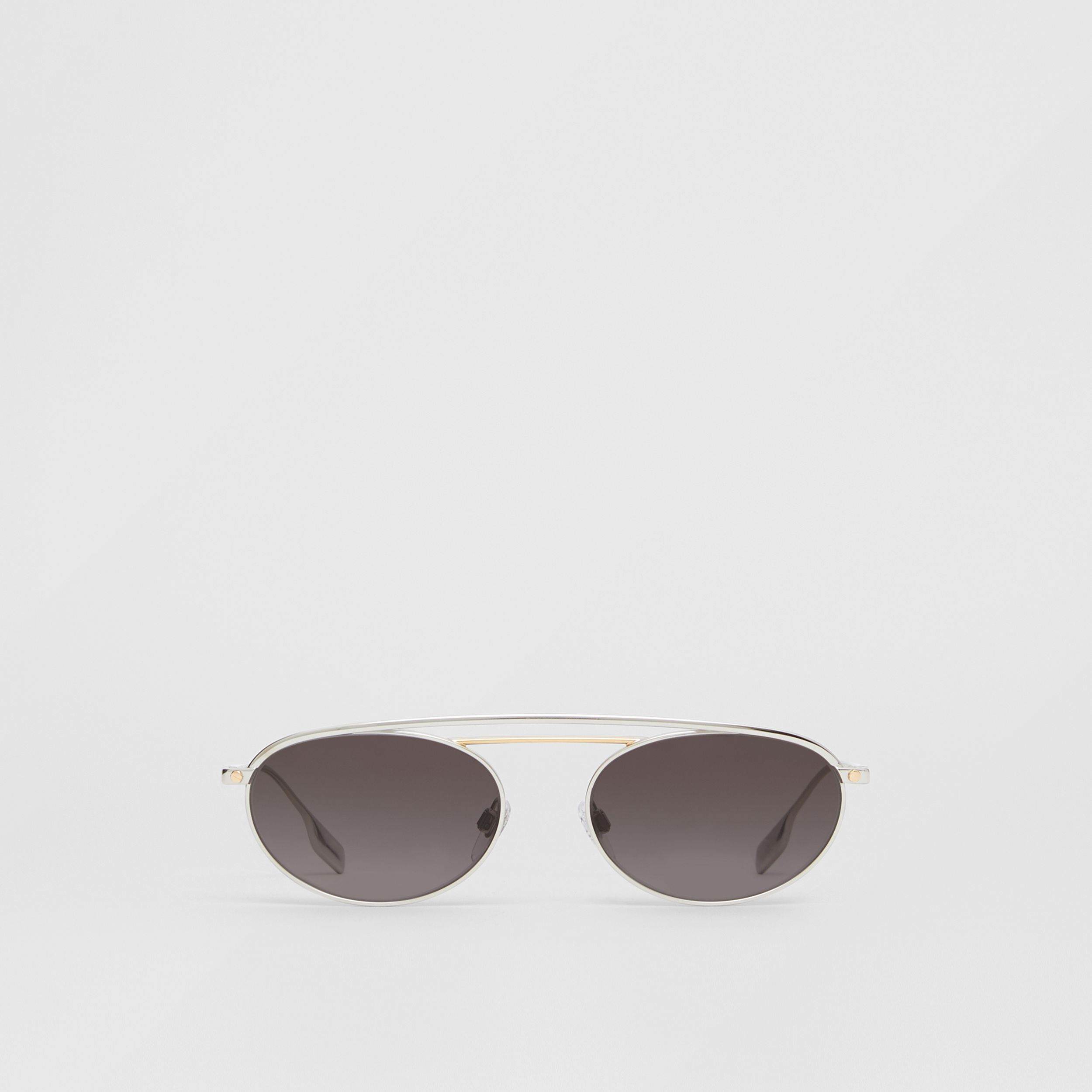 Oval Frame Sunglasses in Grey - Women | Burberry - 1