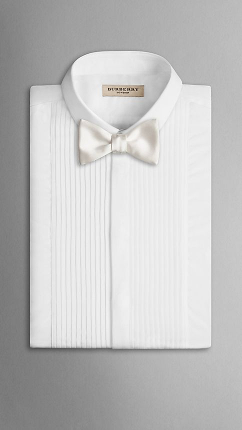 White Classic Silk Bow Tie - Image 3