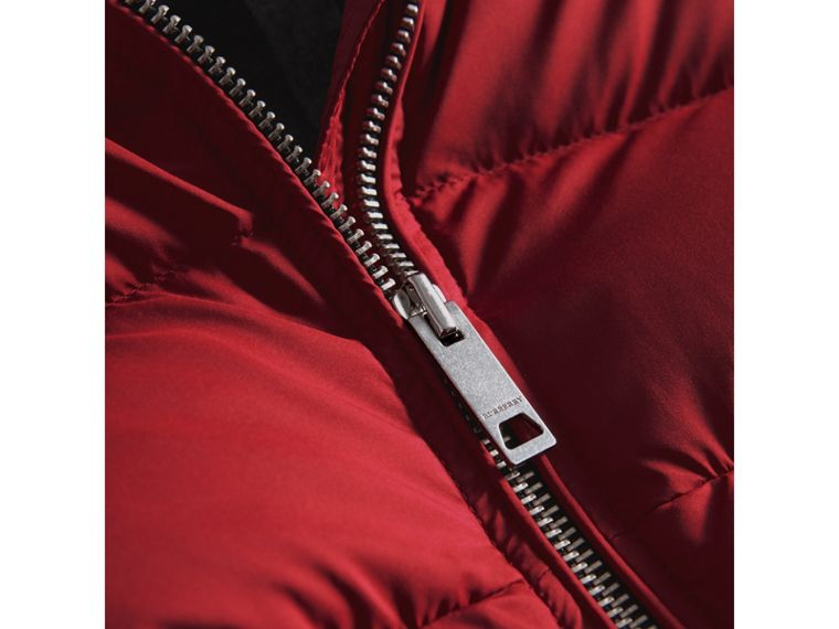 Detachable Hood Two-tone Puffer Coat in Parade Red - Girl | Burberry - cell image 1