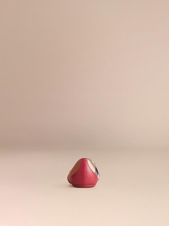 Красно-коричневый Балетки в клетку House Check с отделкой из кожи - cell image 3