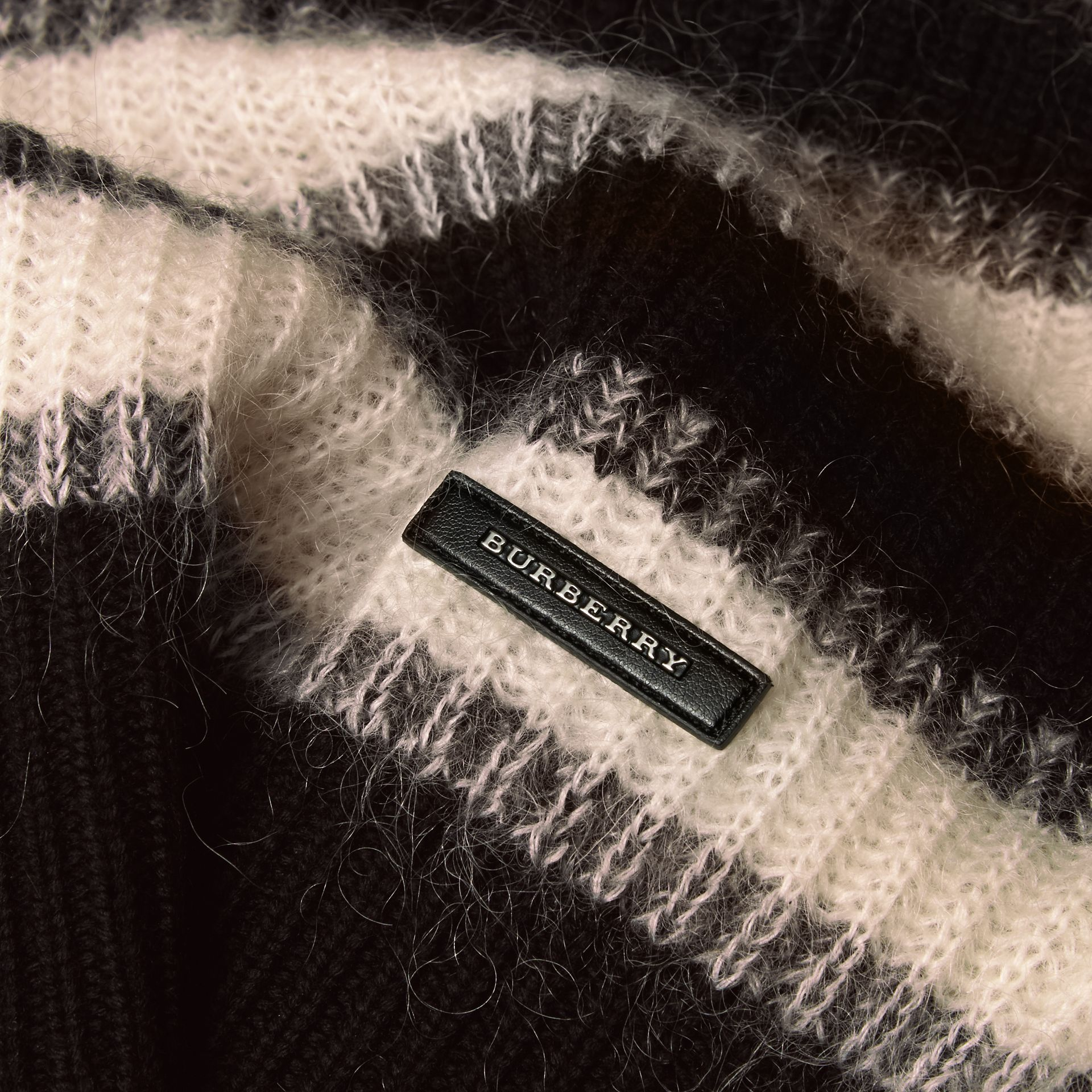 Natural white/black Striped Ribbed Wool Mohair Blend Sweater - gallery image 2