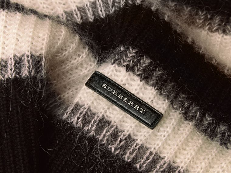 Natural white/black Striped Ribbed Wool Mohair Blend Sweater - cell image 1