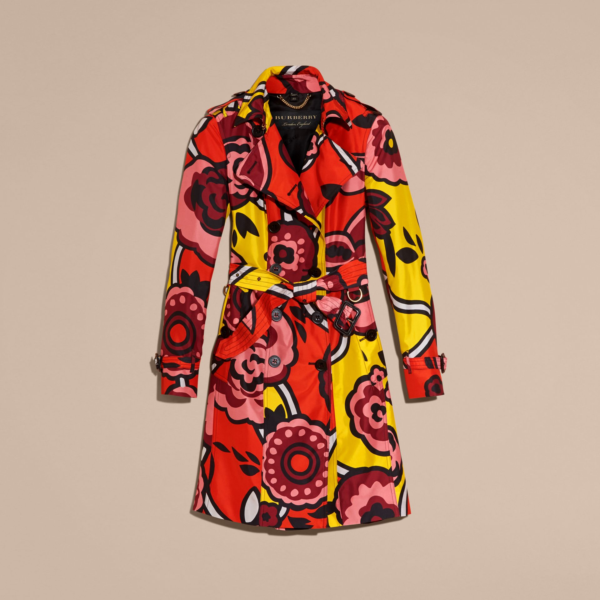 Vibrant orange Floral Print Silk Trench Coat - gallery image 4