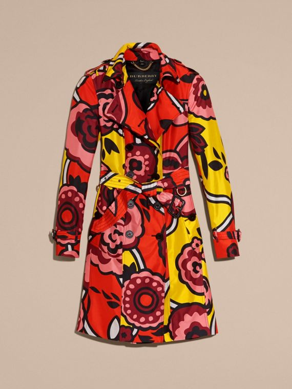 Vibrant orange Floral Print Silk Trench Coat - cell image 3