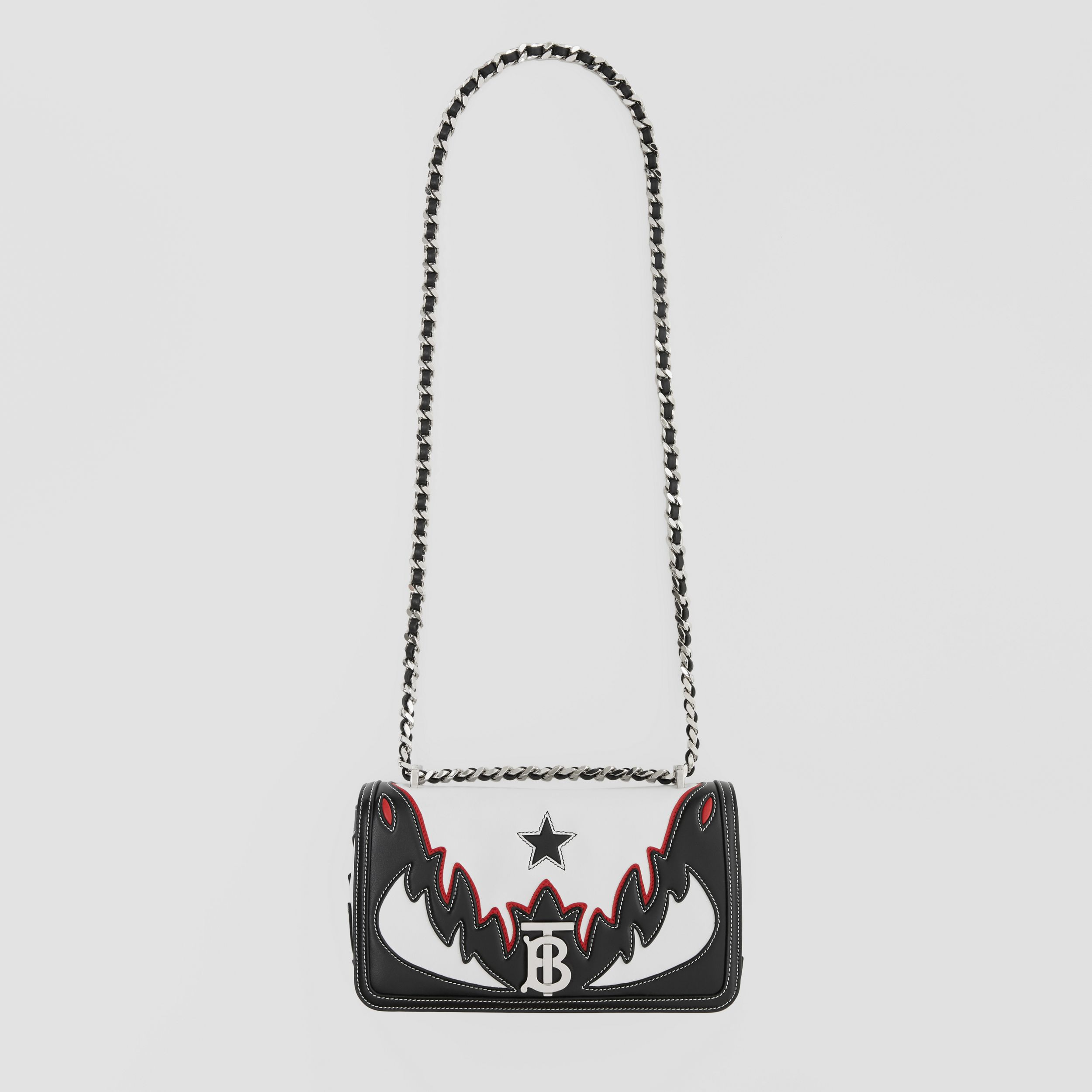 Small Topstitch Appliqué Leather Lola Bag in White/black/red - Women | Burberry - 4