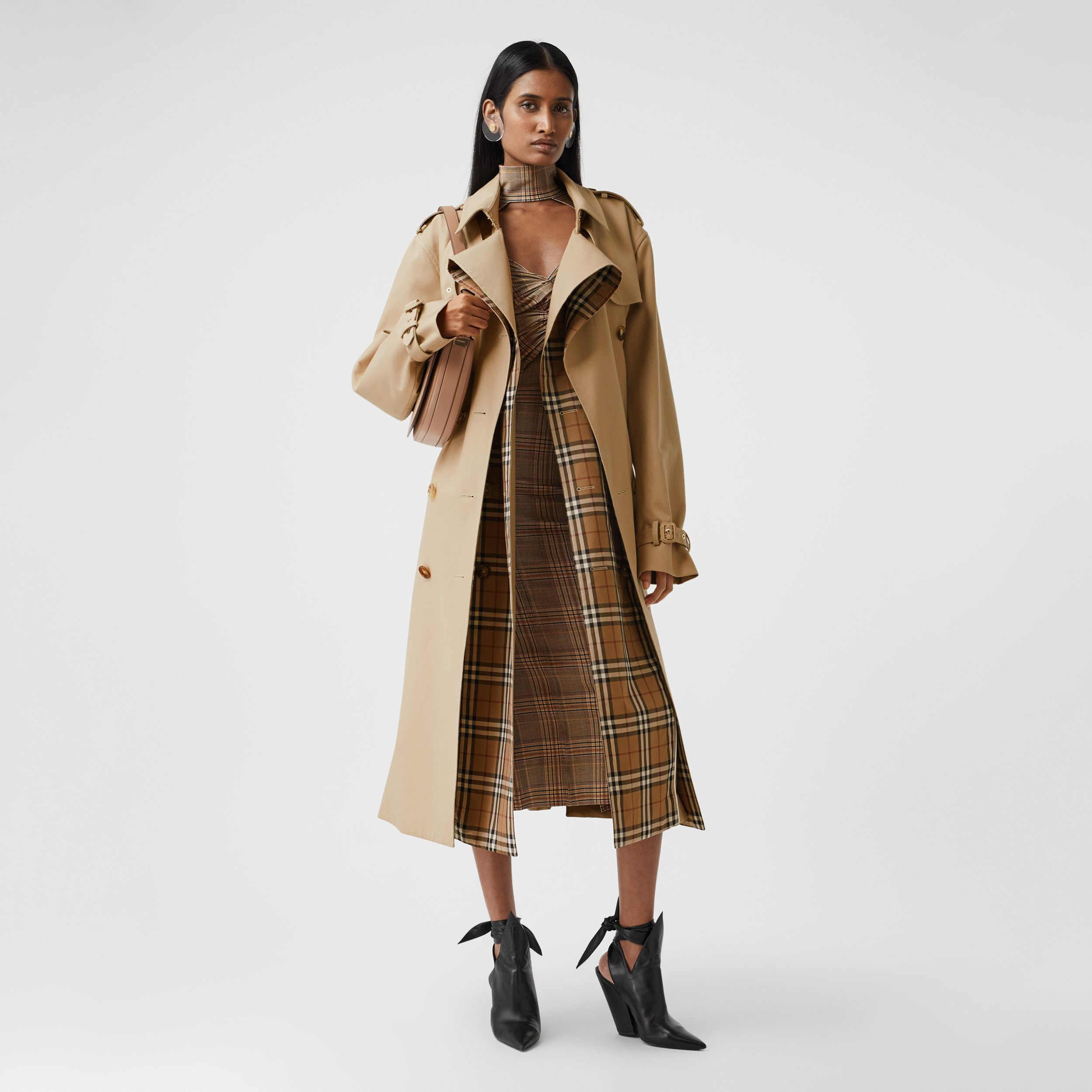 Check Panel Gabardine Loop-back Trench Coat in Dusty Sand - Women | Burberry - 1
