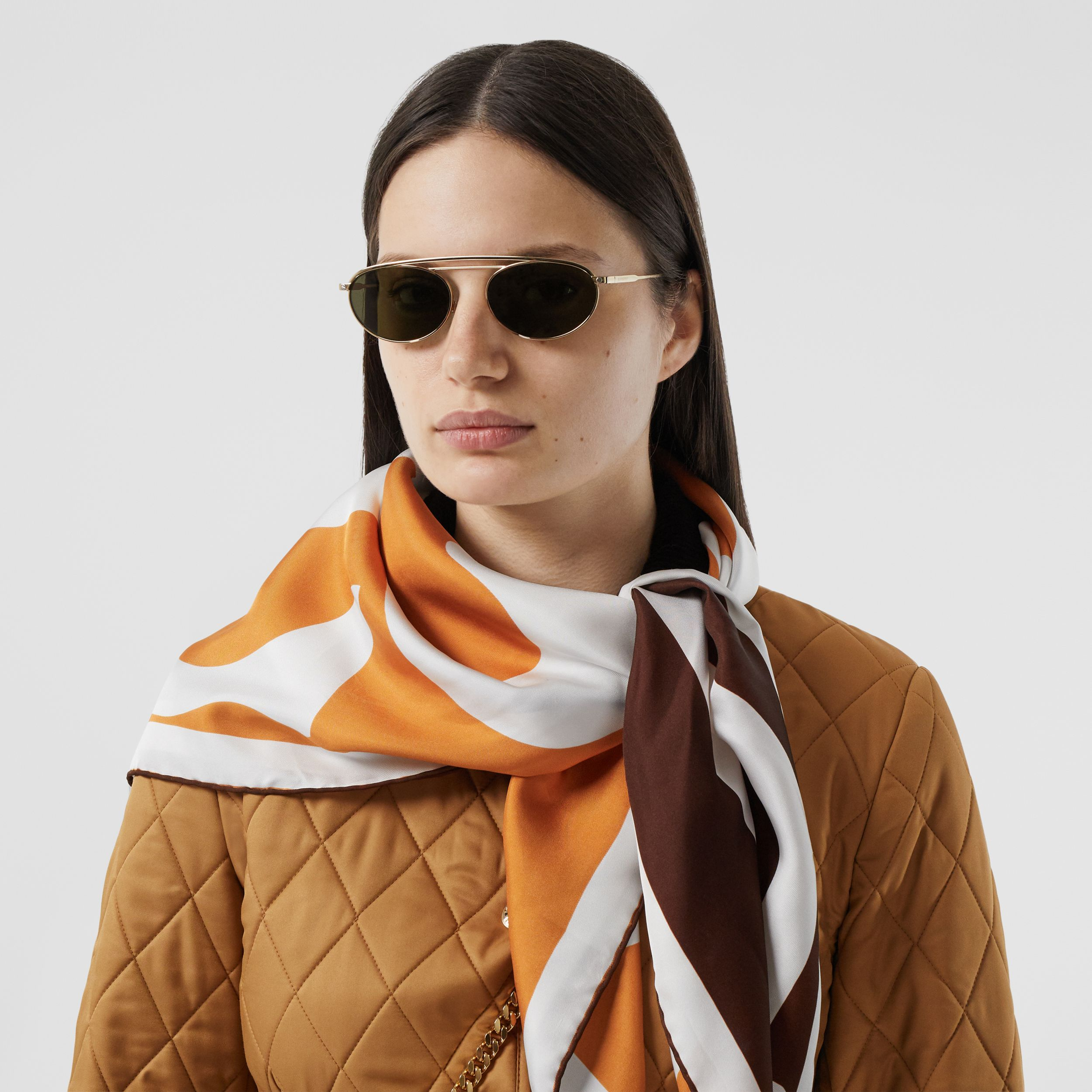 Archive Logo Print Silk Square Scarf in Orange/brown | Burberry - 3