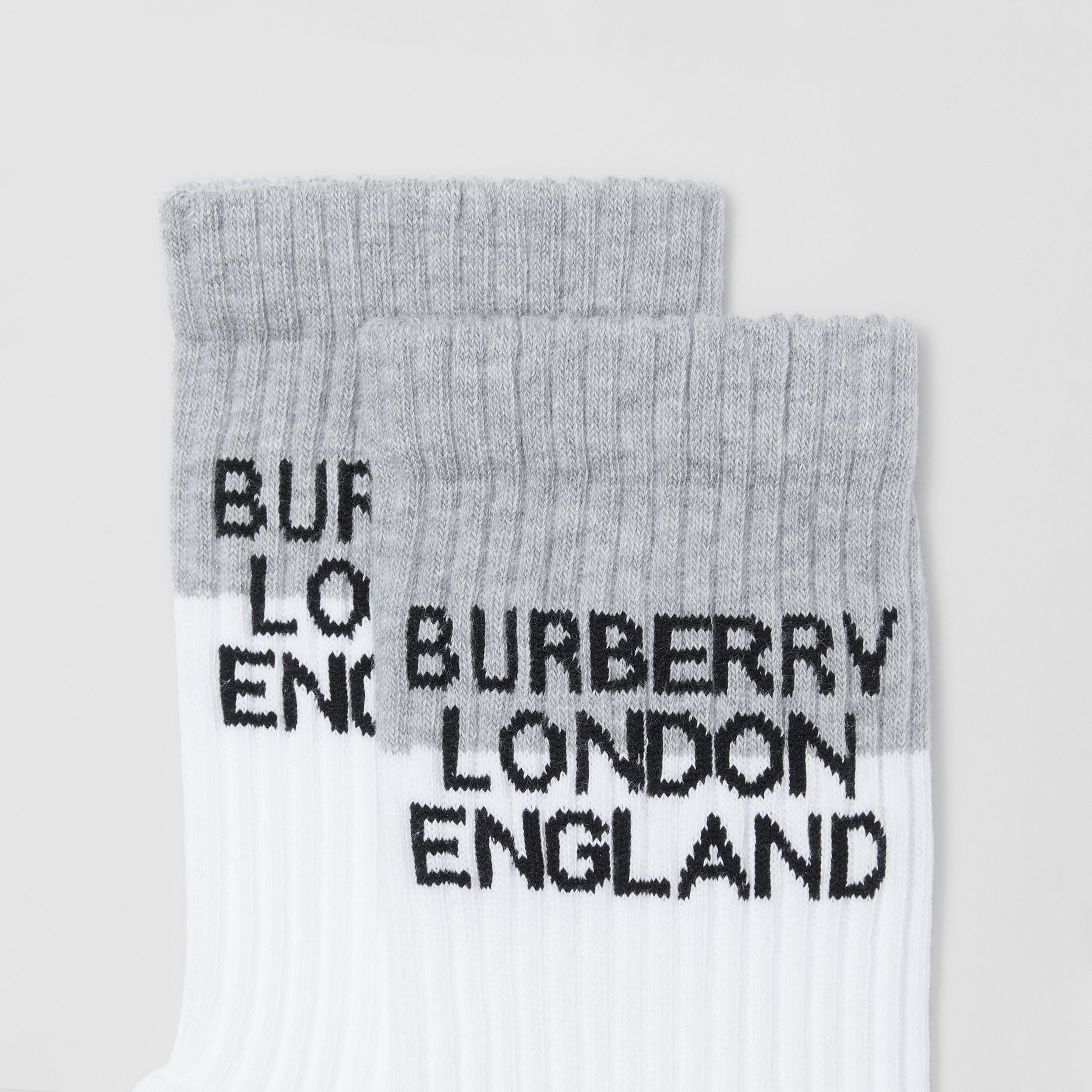 Logo Intarsia Technical Stretch Cotton Socks in White/grey Melange | Burberry - 2