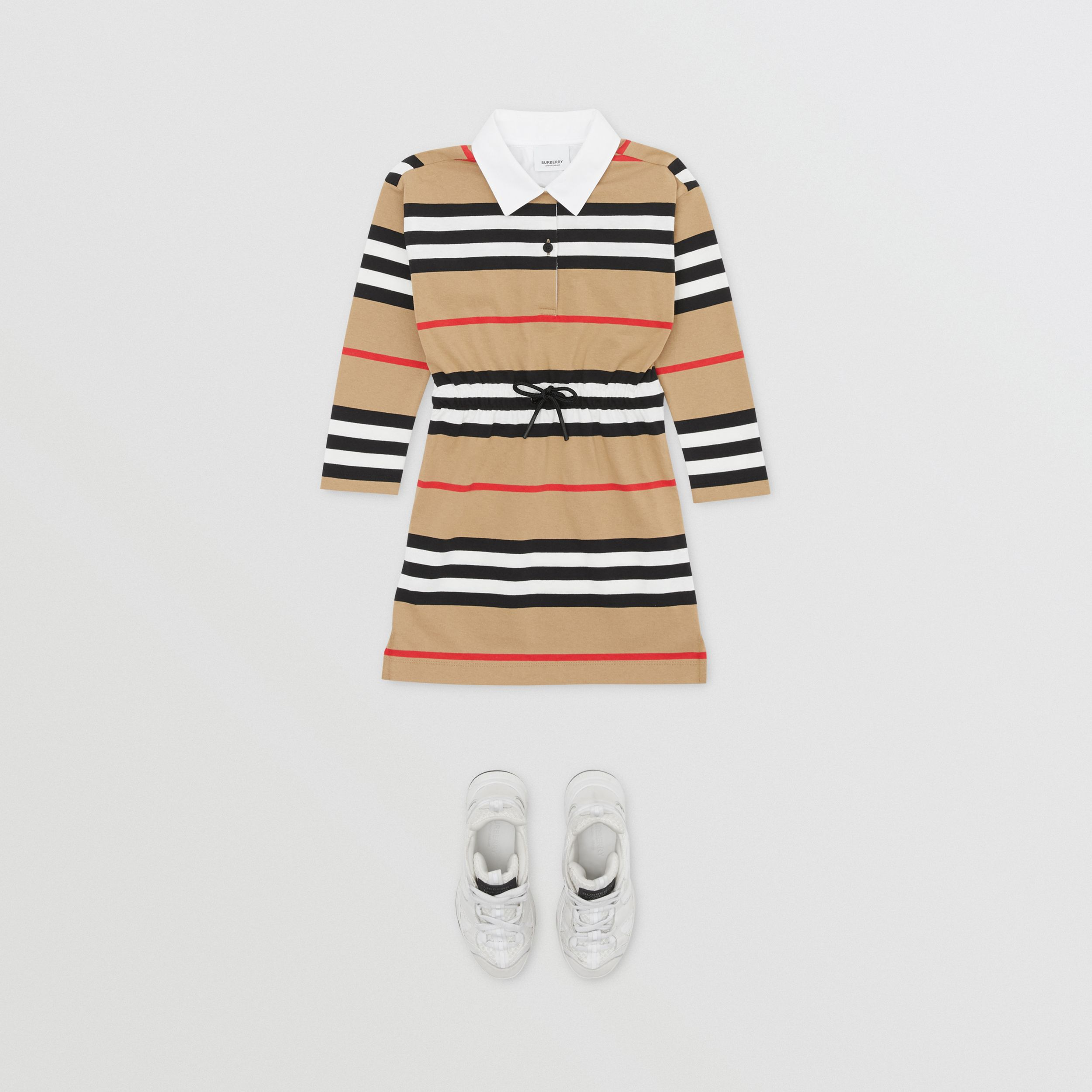 Long-sleeve Icon Stripe Cotton Dress in Archive Beige | Burberry Singapore - 3