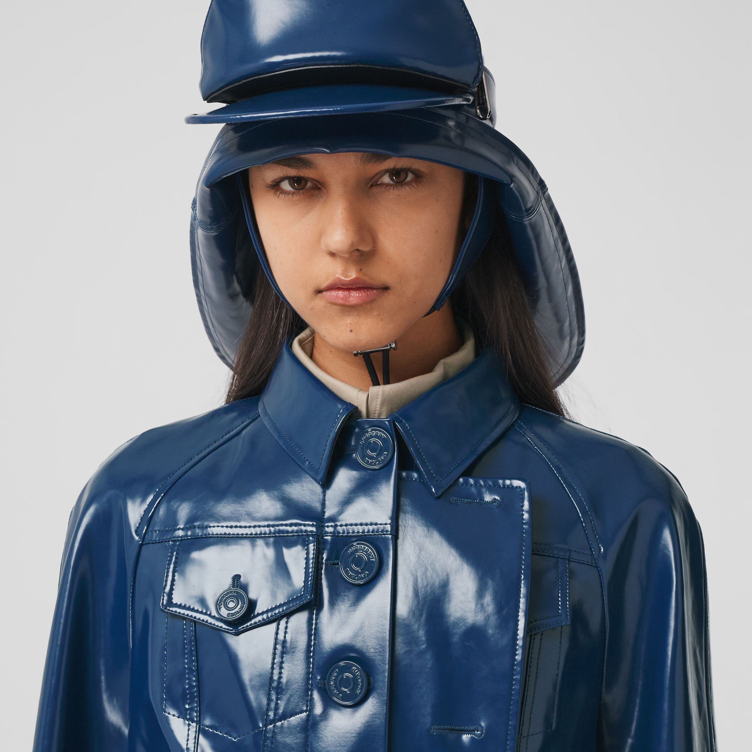 Jacket Detail Rubberised Cotton Trench Coat in Ink Blue - Women | Burberry United Kingdom - 2