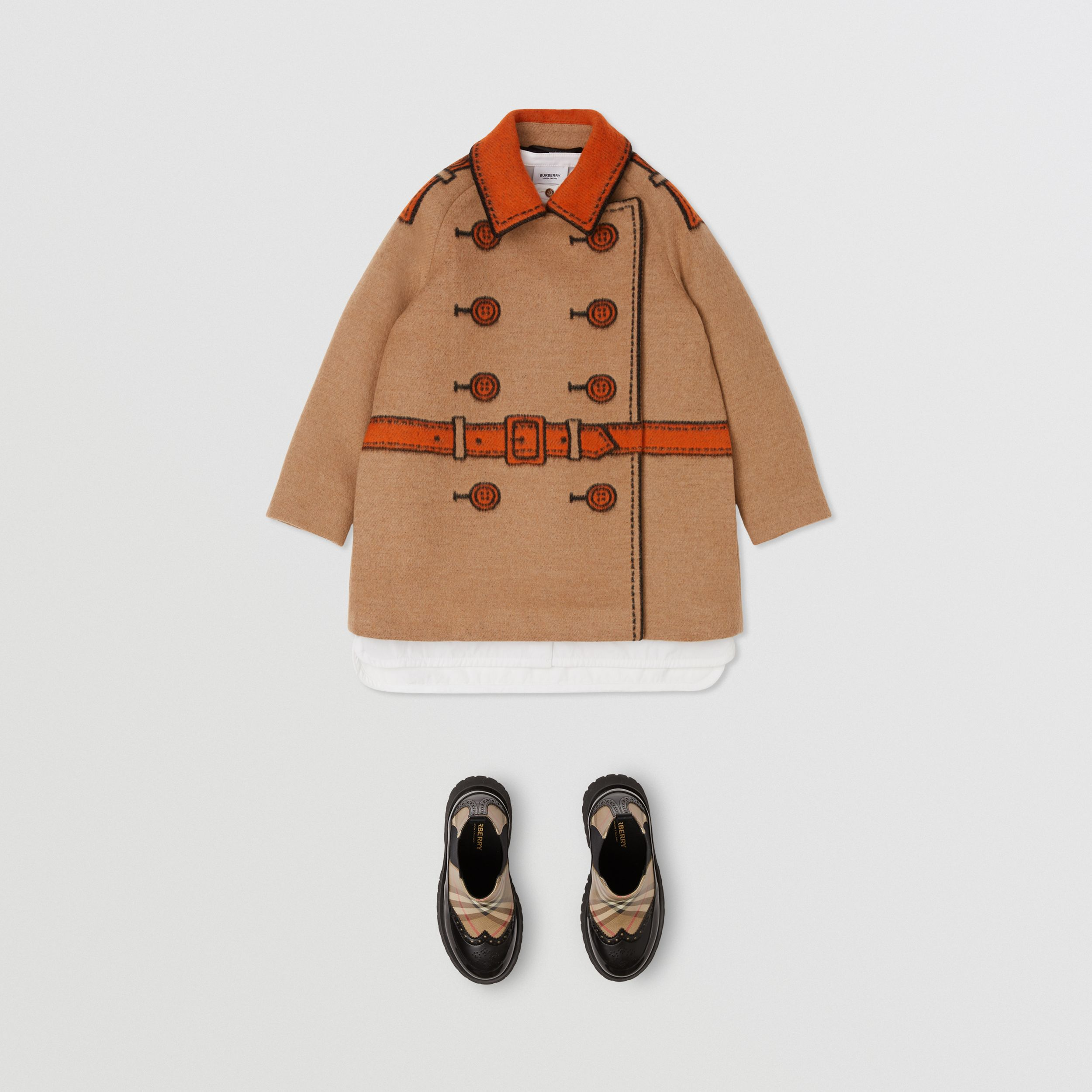 Trompe L'Oeil Wool Jacquard Coat in Camel | Burberry - 3