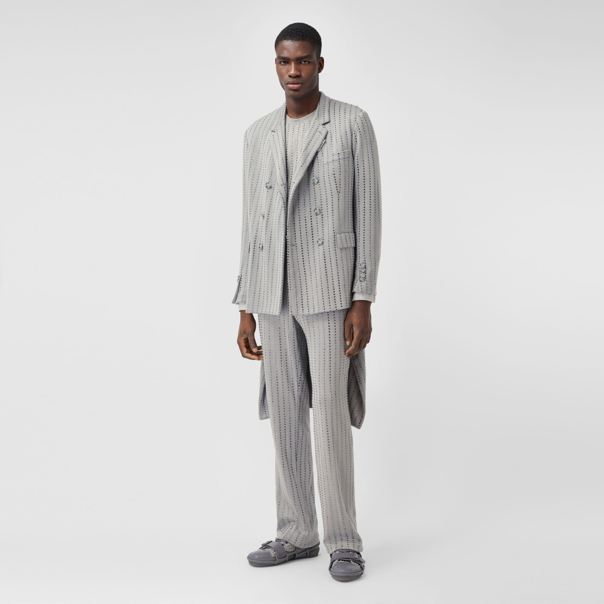 Classic Fit Crystal Pinstriped Tailored Jacket in Light Pebble Grey | Burberry - gallery image 5