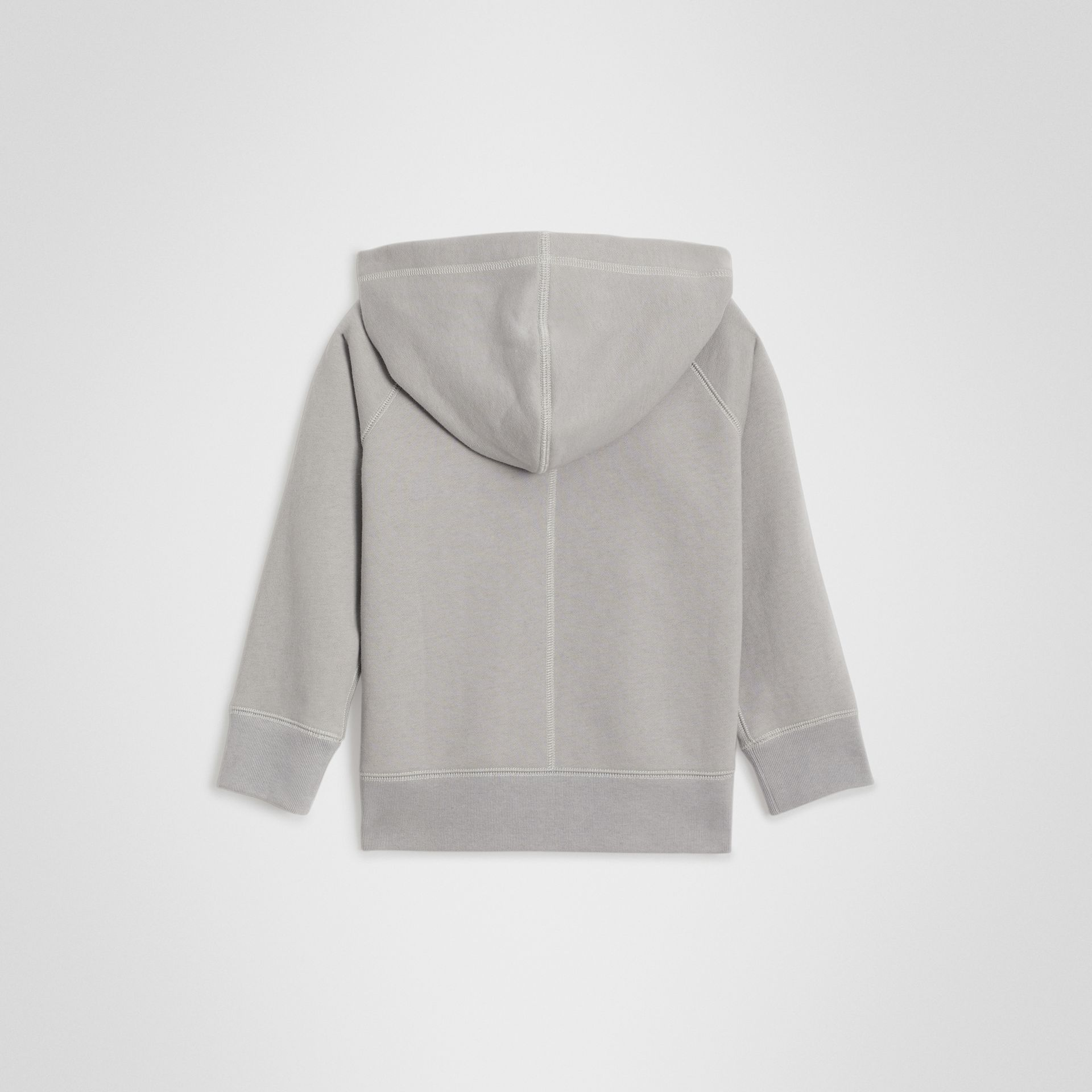 Cotton Jersey Hooded Top in Chalk Grey Melange | Burberry - gallery image 3
