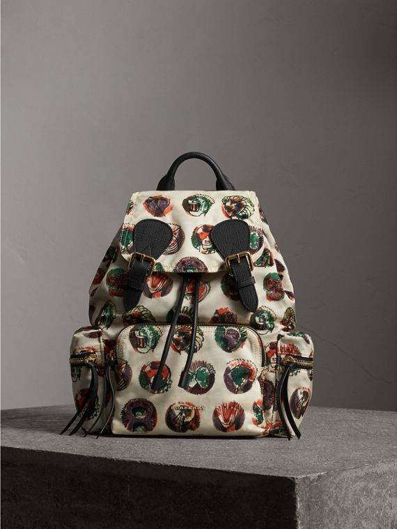 The Medium Rucksack in Technical Nylon with Pallas Heads Print in Natural White