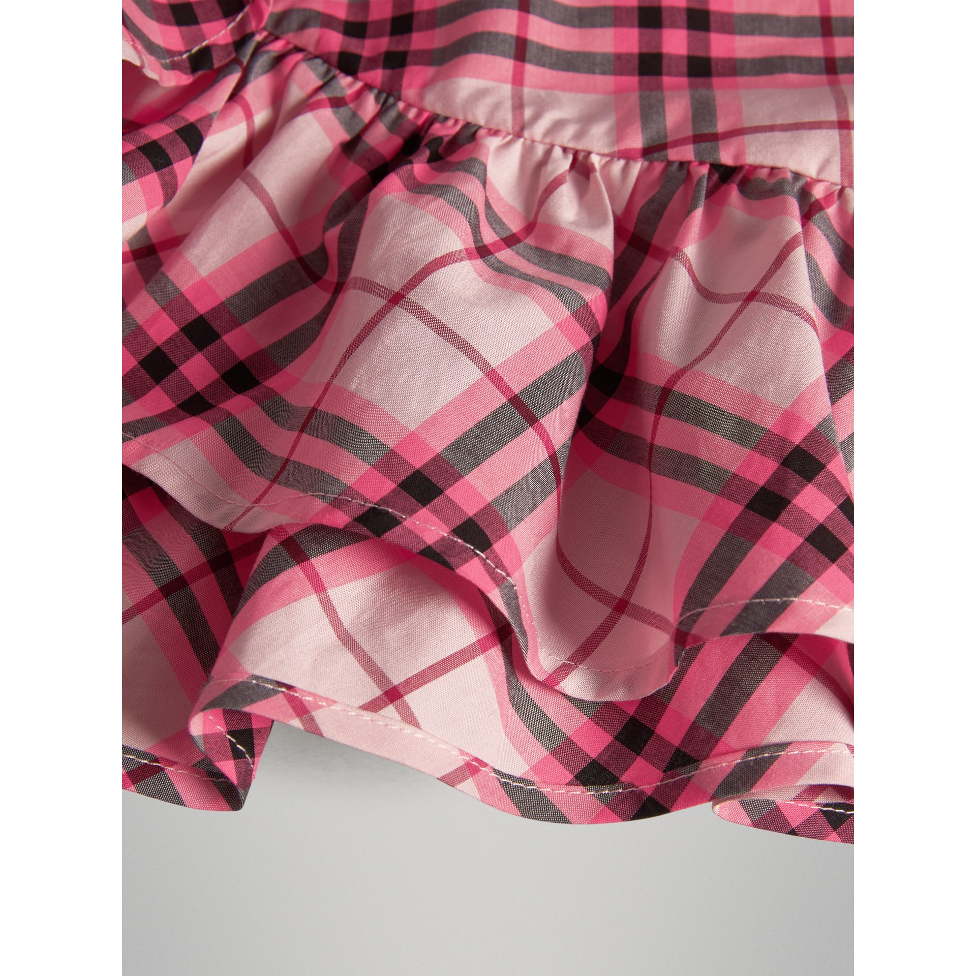 Ruffle Detail Check Cotton Top in Bright Rose | Burberry - gallery image 1