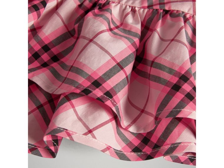 Ruffle Detail Check Cotton Top in Bright Rose - Girl | Burberry - cell image 1