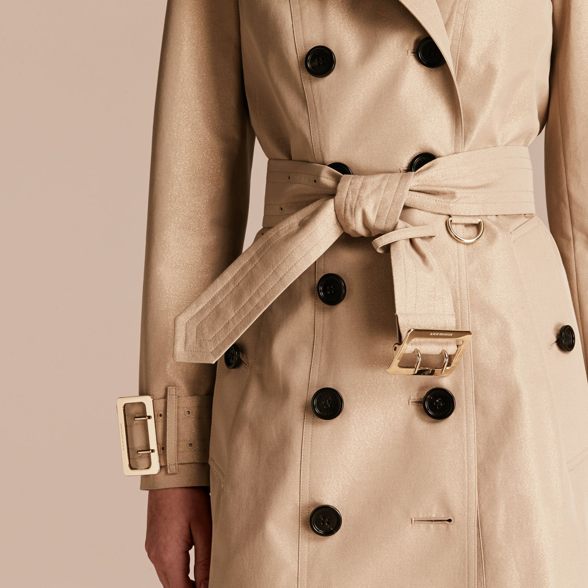 Nude gold Metallic Cotton Gabardine Trench Coat with Oversize Buckle Detail - gallery image 5