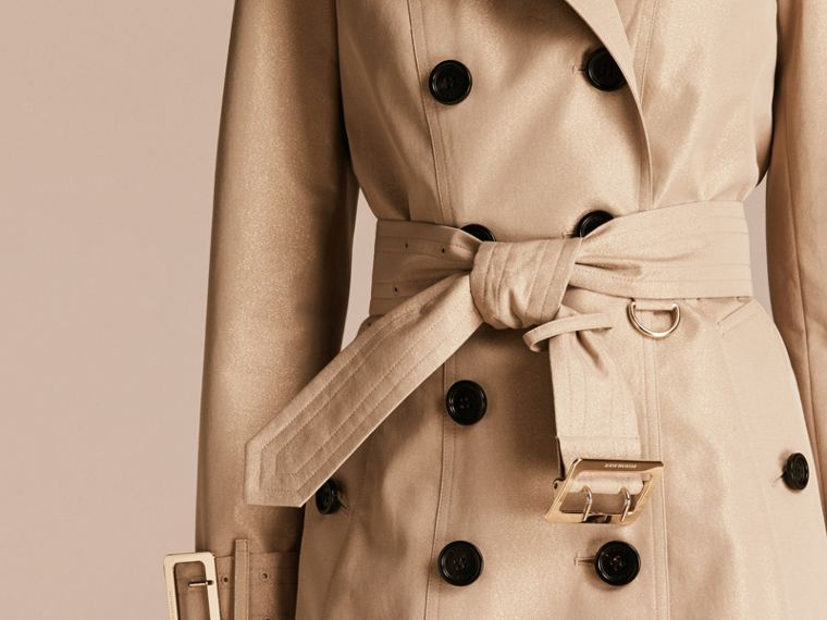 Nude gold Metallic Cotton Gabardine Trench Coat with Oversize Buckle Detail - cell image 4