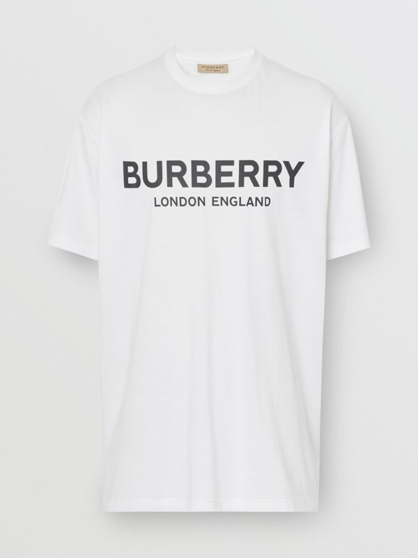 Logo Print Cotton T-shirt in White - Men | Burberry United States - cell image 3