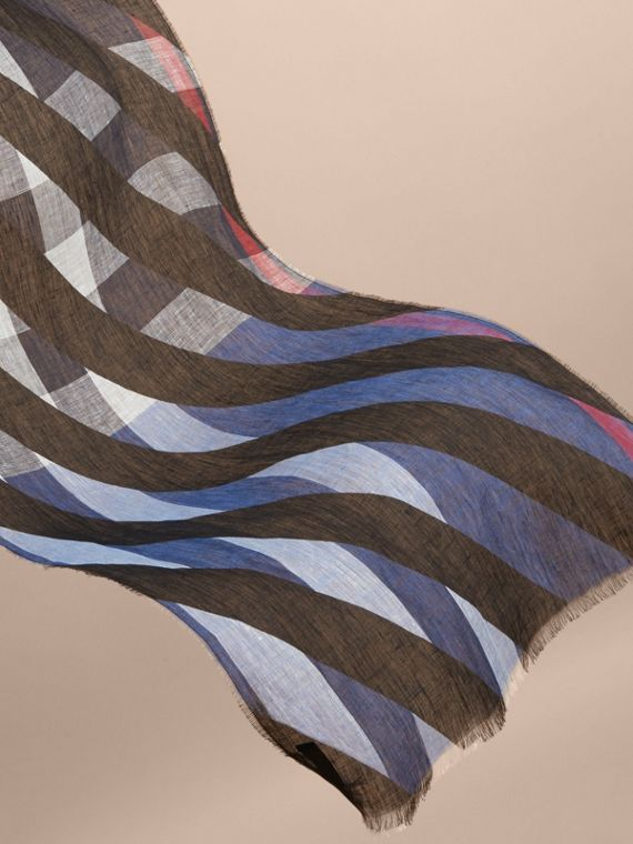 Lightweight Stripe Print Check Linen Scarf in Black/navy - Men | Burberry - cell image 3