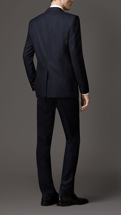 Navy Modern Fit Check Wool Part-canvas Suit - Image 2