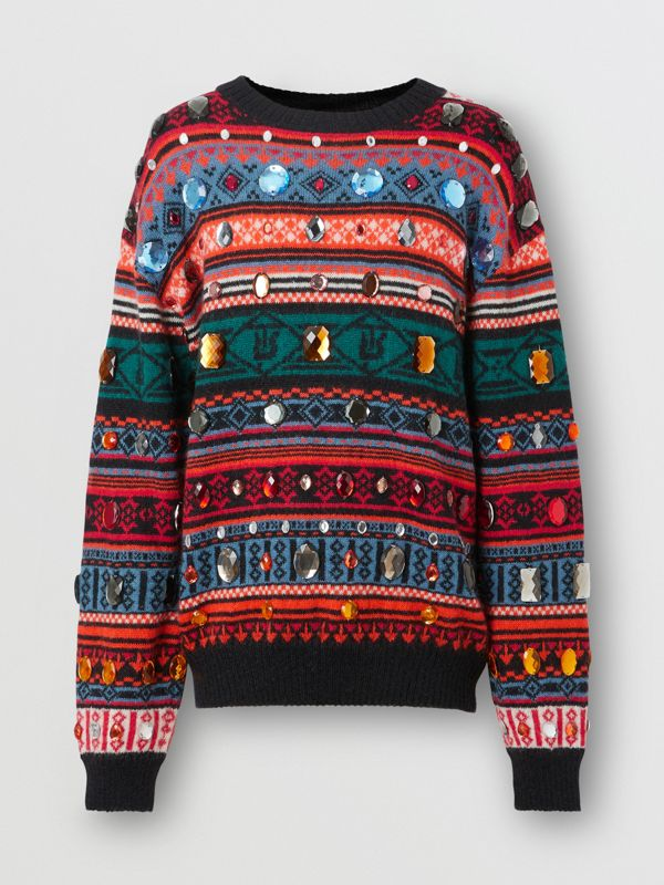 Embellished Fair Isle Mohair Wool Blend Sweater in Bright Orange - Men | Burberry Australia - cell image 3