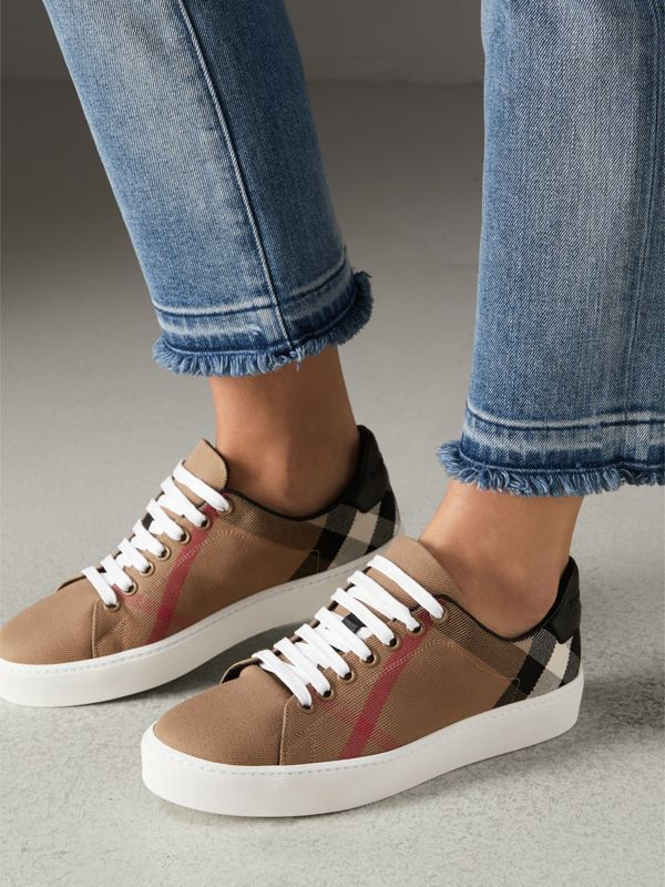 House Check and Leather Sneakers in Classic - Women | Burberry - cell image 2