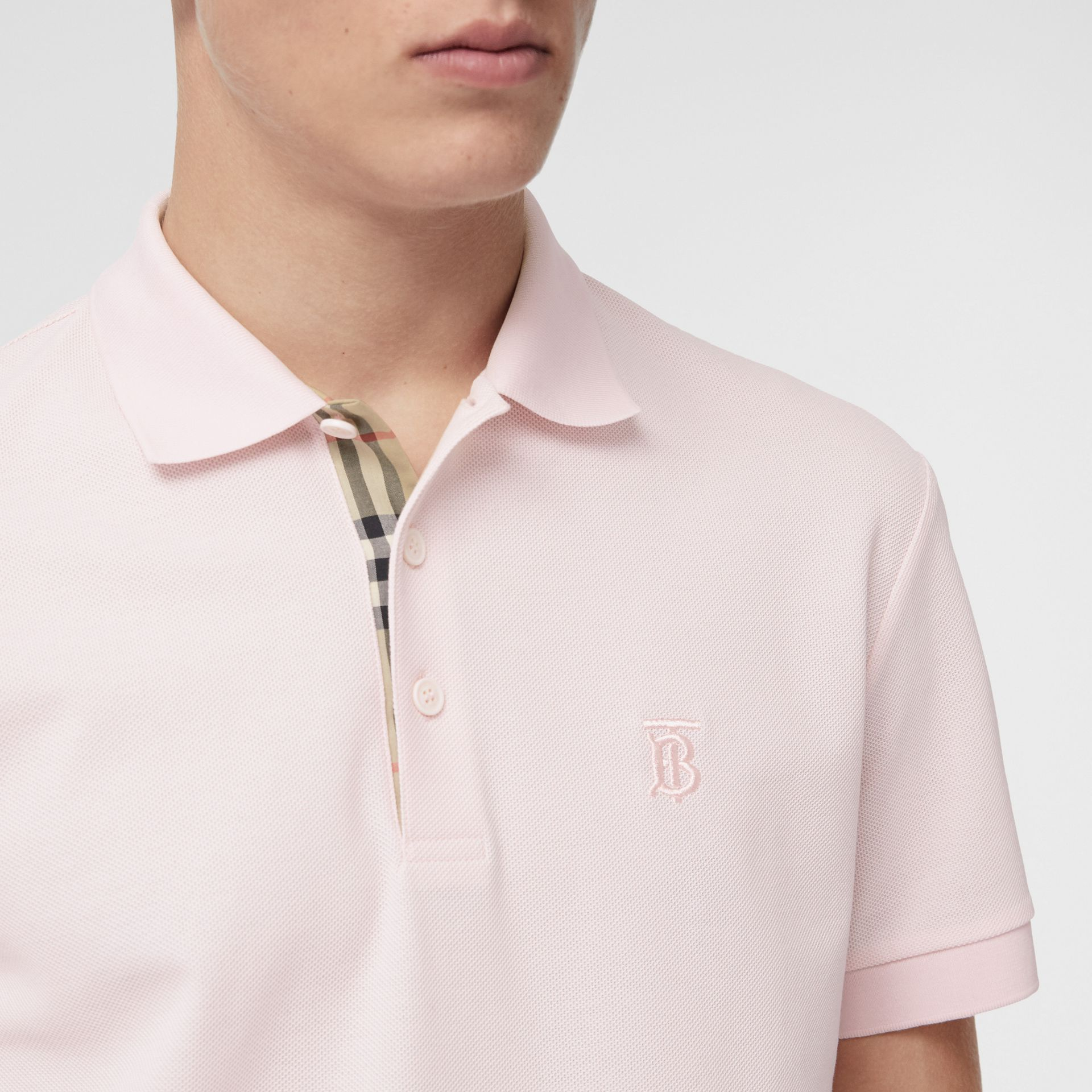 Monogram Motif Cotton Piqué Polo Shirt in Alabaster Pink - Men | Burberry United Kingdom - gallery image 1