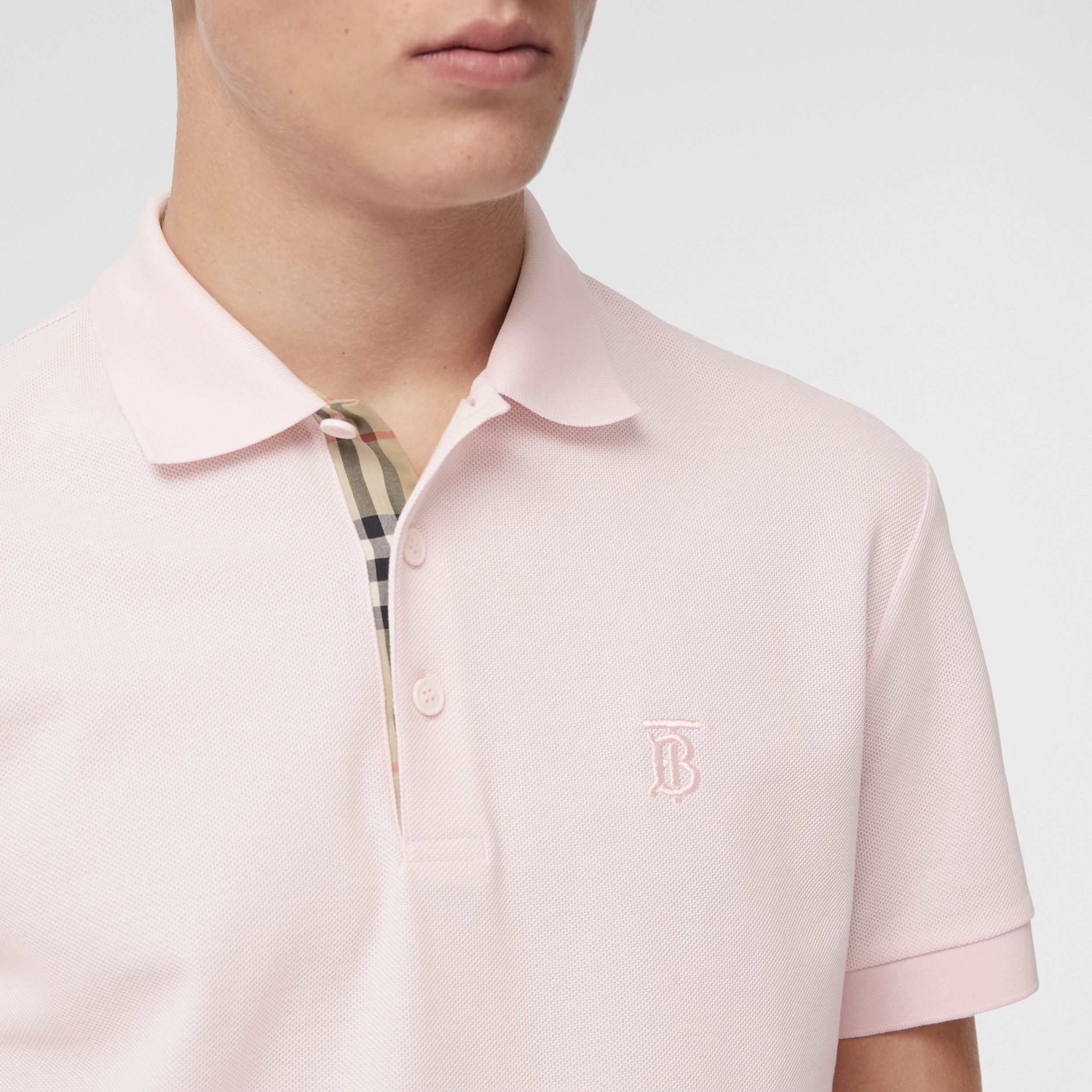 Monogram Motif Cotton Piqué Polo Shirt in Alabaster Pink - Men | Burberry - 2