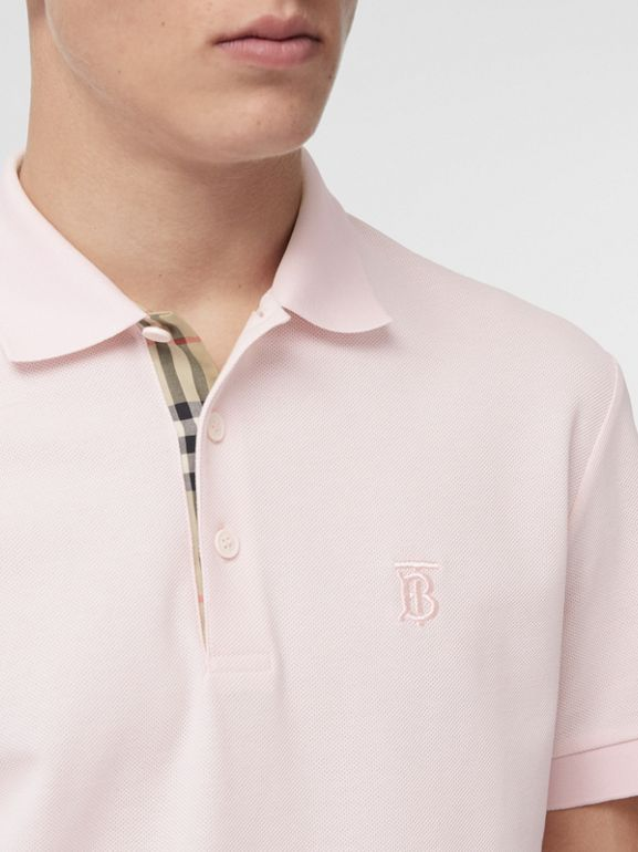 Monogram Motif Cotton Piqué Polo Shirt in Alabaster Pink - Men | Burberry United Kingdom - cell image 1