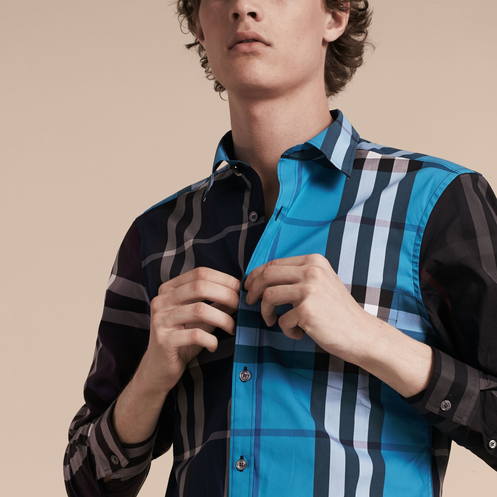 Ink Colour Block Check Cotton Blend Shirt Ink - gallery image 5
