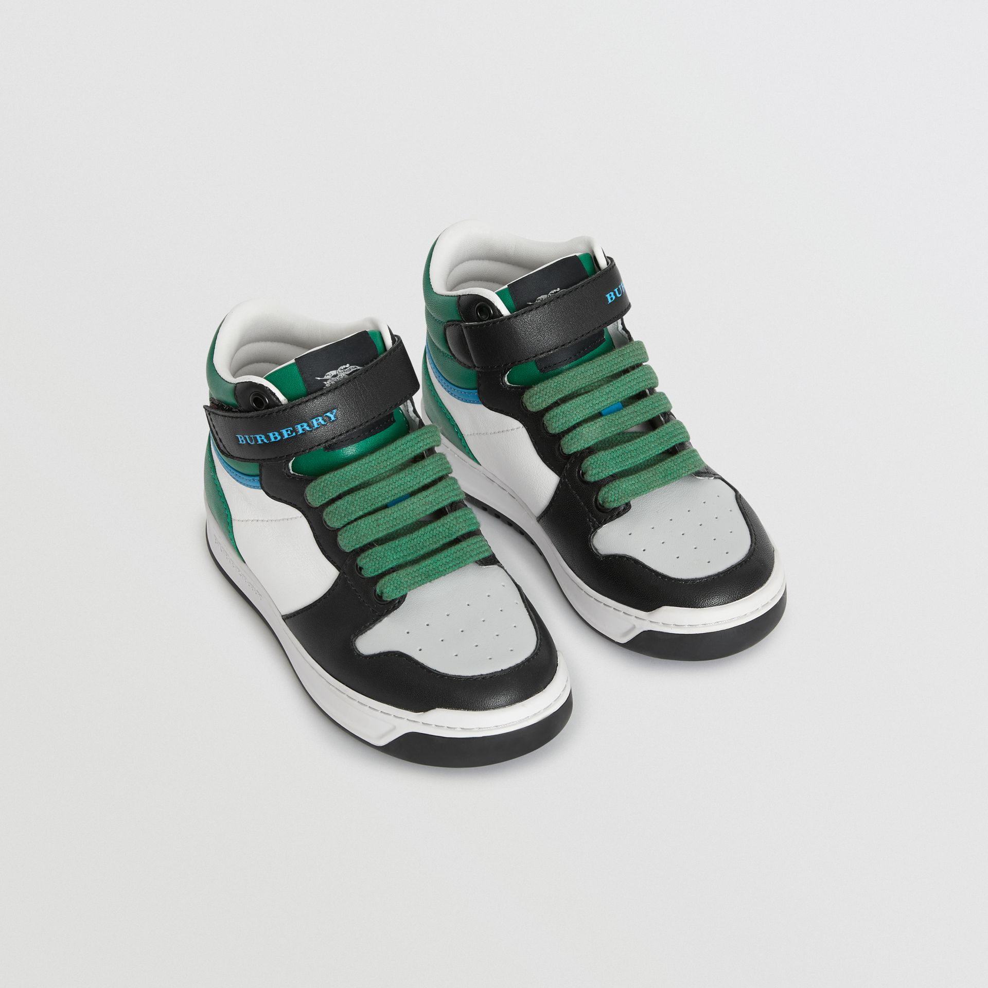 Colour Block Leather High-top Sneakers in Viridian Green - Children | Burberry Canada - gallery image 0