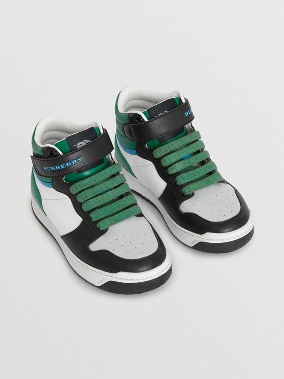 Colour Block Leather High-top Sneakers in Viridian Green
