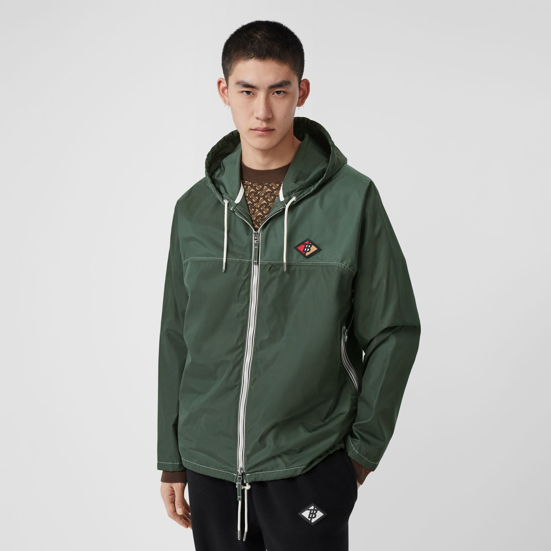 Logo Graphic Packaway Lightweight Hooded Jacket in Dark Pine Green - Men | Burberry - gallery image 5