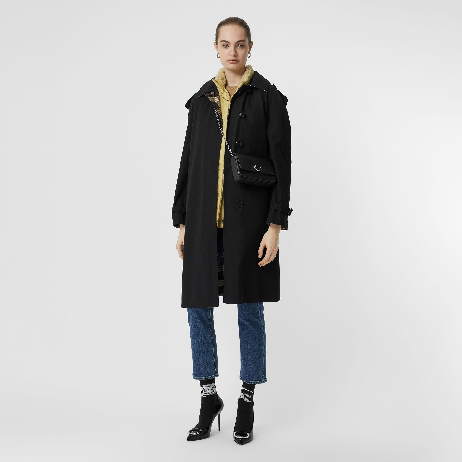 Detachable Hood Tropical Gabardine Car Coat in Black - Women | Burberry United States - gallery image 0