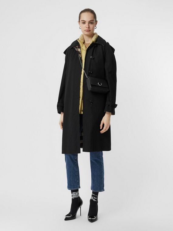 Car coat in gabardine tropicale con cappuccio amovibile (Nero)