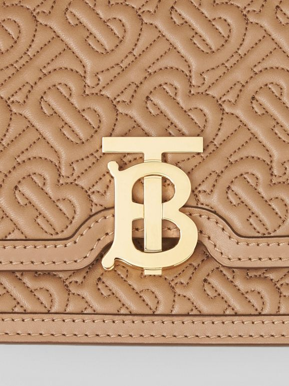 Belted Quilted Monogram Lambskin TB Bag in Honey - Women | Burberry United Kingdom - cell image 1
