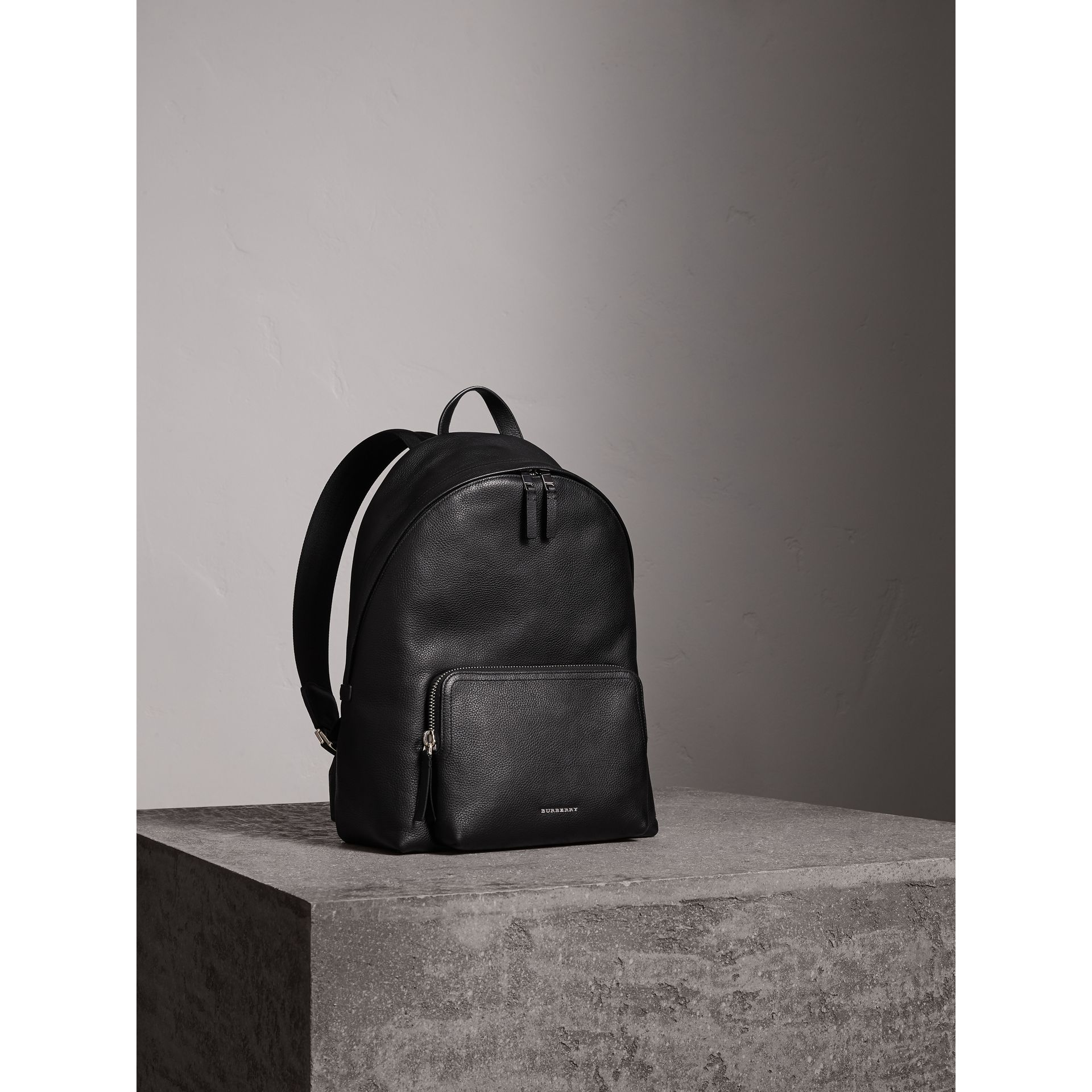 Grainy Leather Backpack in Black - Men | Burberry - gallery image 7